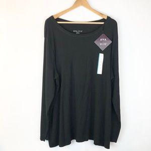 Ava & Viv Black Long Sleeve Basic Shirt 3X New